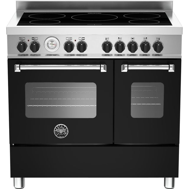 Bertazzoni Master Series MAS90-5I-MFE-D-NEE 90cm Electric Range Cooker with Induction Hob - Matt Black - A+/A Rated - MAS90-5I-MFE-D-NEE_BK - 1