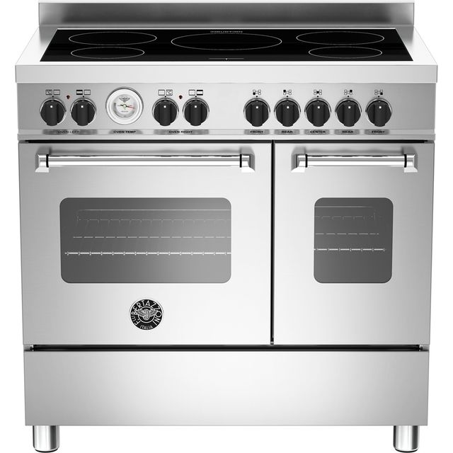 Bertazzoni Master Series MAS90-5I-MFE-D-XE 90cm Electric Range Cooker with Induction Hob - Stainless Steel - A+/A Rated - MAS90-5I-MFE-D-XE_SS - 1