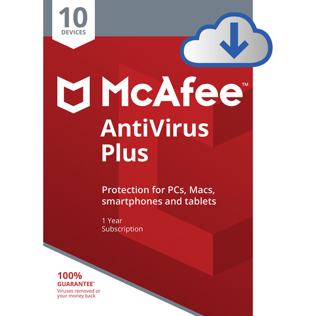 McAfee AntiVirus Plus Digital Download for 10 Devices - Annual Subscription