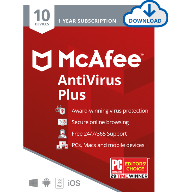 Image of McAfee AntiVirus Plus Digital Download for 10 Devices - Annual Subscription, 1 Year Subscription
