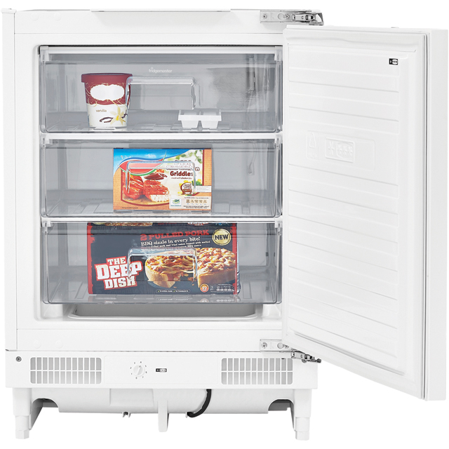 Fridgemaster MBUZ6097M Integrated Under Counter Freezer with Fixed Door Fixing Kit - A+ Rated