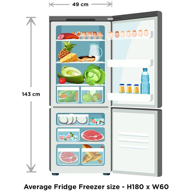 Fridgemaster MC50165S 60/40 Fridge Freezer - Silver - MC50165S_SI - 2