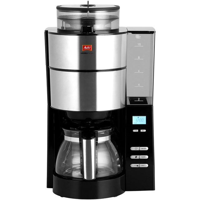 Melitta Grind & Brew Filter Coffee Machine with Timer - Silver / Black
