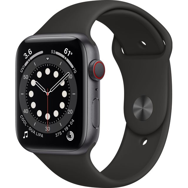 Apple Watch Series 6, 44mm, GPS + Cellular [2020] - Space Grey Aluminium Case with Black Sport Band