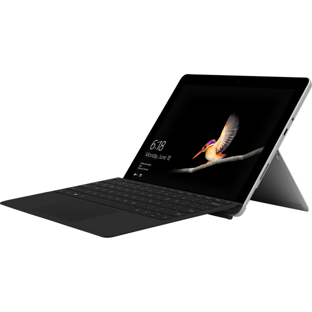 "Microsoft Surface Go Silver / Black 10"" Includes Black Keyboard Cover - MHN-00002BUN - 1"