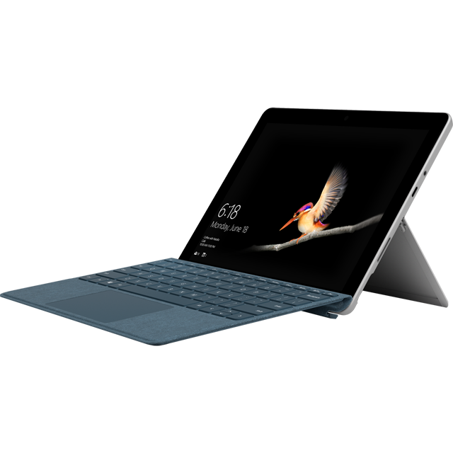 "Microsoft Surface Go 10"" 2-in-1 Laptop Includes Cobalt Blue Keyboard Cover [2018] - Silver / Cobalt Blue - MHN-00002BUNBLU - 1"