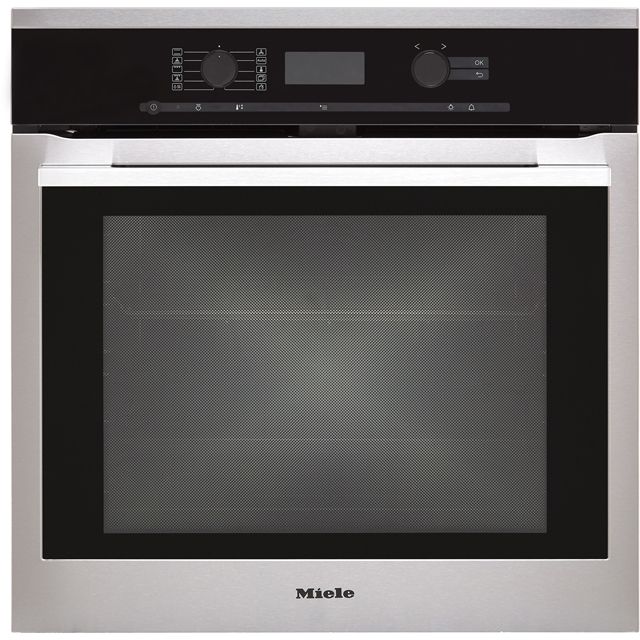 Miele H6360BP Built In Electric Single Oven with added Steam Function - Clean Steel - A+ Rated - H6360BP_CS - 1