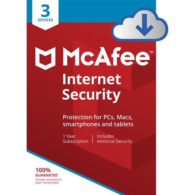 McAfee Internet Security Digital Download for 3 Devices - MIS00UNR3RDD - 1