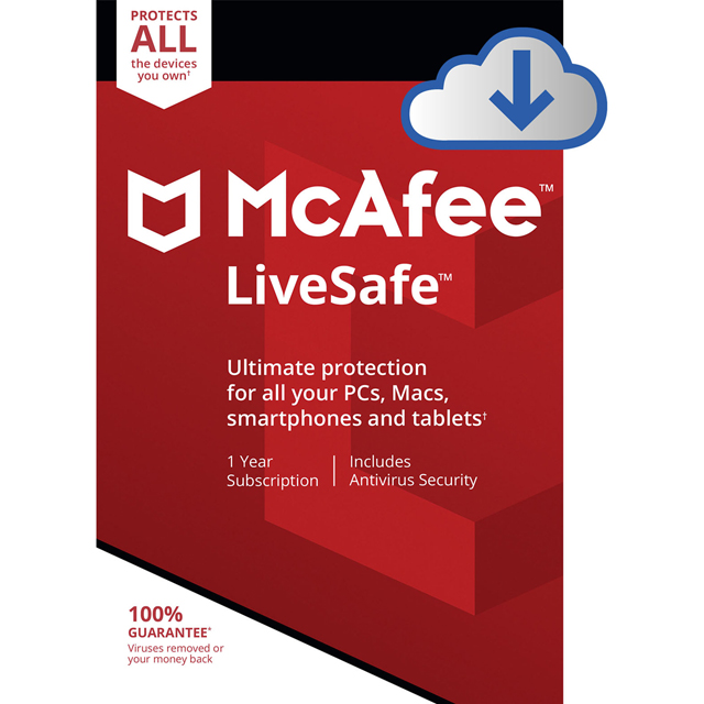 McAfee LiveSafe Digital Download for Unlimited Devices - MLS00UAOURDD - 1