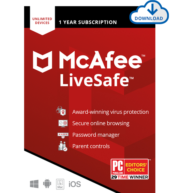 Image of McAfee LiveSafe Digital Download for Unlimited Devices