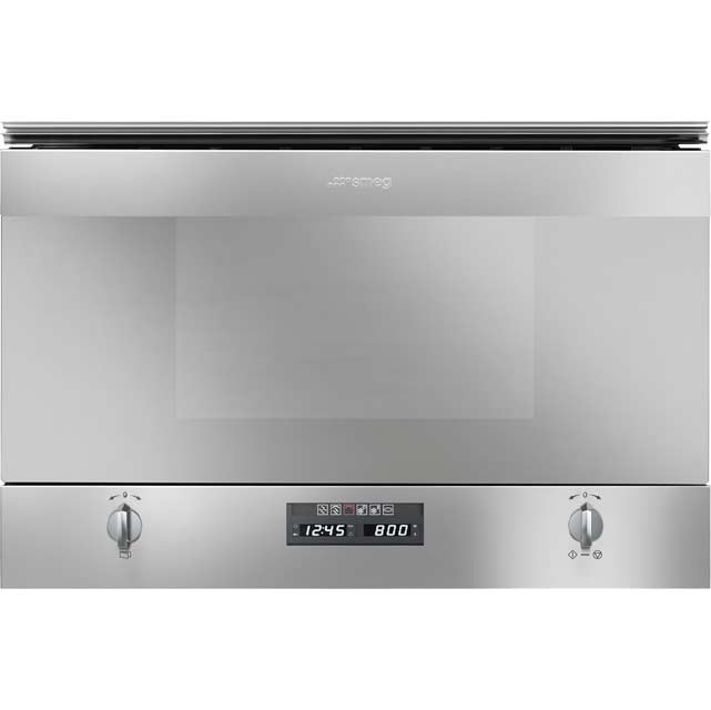 Smeg Cucina MP422X Narrow Width Built In Microwave With Grill - Stainless Steel - MP422X_SS - 1