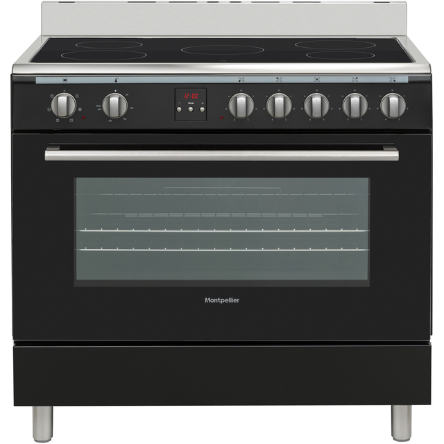 Montpellier MR90CEMK 90cm Electric Range Cooker with Ceramic Hob - Black