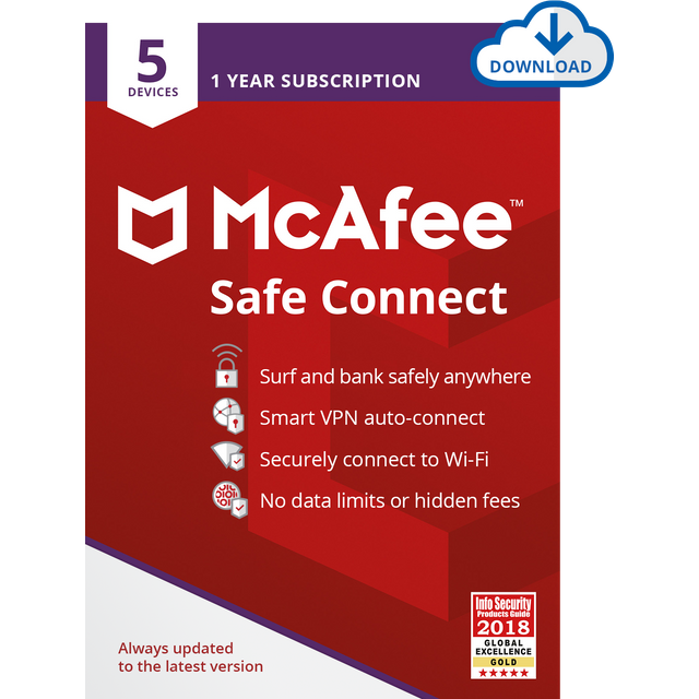 Image of McAfee Safe Connect Digital Download for 5 Devices - Annual Subscription
