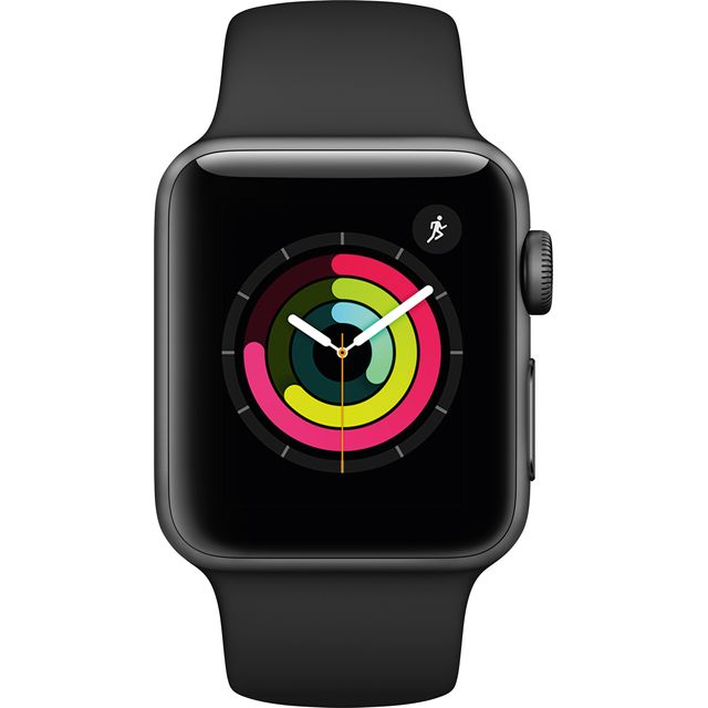 Apple Watch Series 3, 38mm, GPS [2017] - Space Grey Aluminium Case with Black Sport Band - MTF02B/A - 1