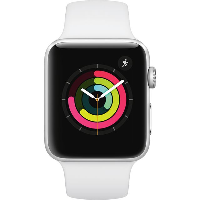 Apple Watch, Watch Series 3 with Sports Band, 42mm, GPS [2017] - Silver / White Aluminium Case with White Sport Band - MTF22B/A - 1