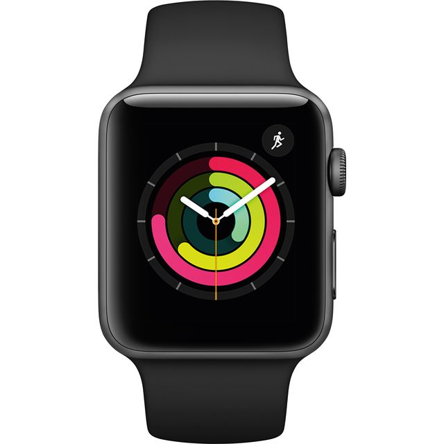 Apple Watch, Watch Series 3 with Sports Band, 42mm, GPS [2017] - Space Grey Aluminium Case with Black Sport Band - MTF32B/A - 1