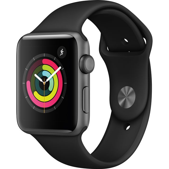 Apple Watch, Series 3, 42mm, GPS [2017] - Space Grey Aluminium Case with Black Sport Band