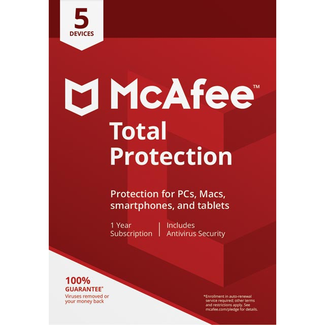 McAfee Total Protection 2018 Digital Download for 5 Devices - One Time Purchase