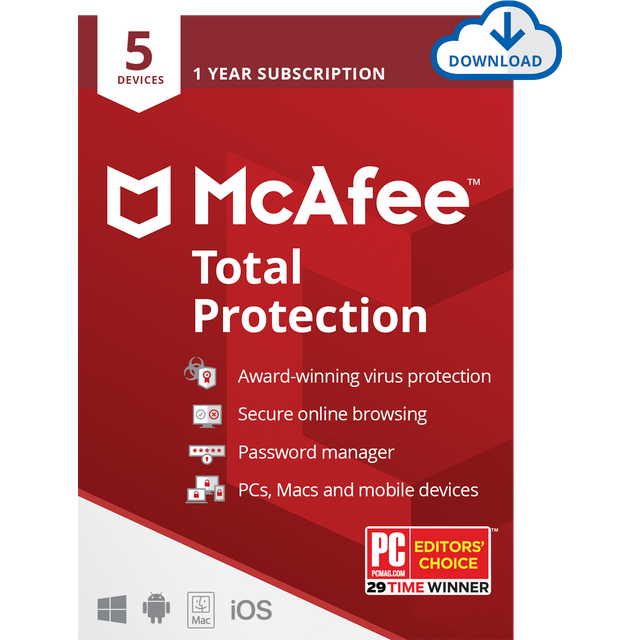 Image of McAfee Total Protection Digital Download for 5 Devices - Annual Subscription, 1 Year Subscription