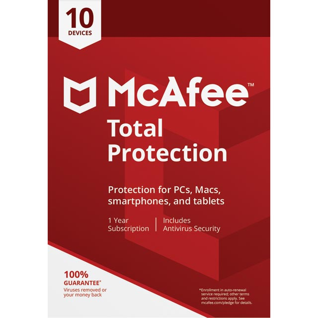 McAfee Total Protection 2018 Digital Download for 10 Devices - One Time Purchase