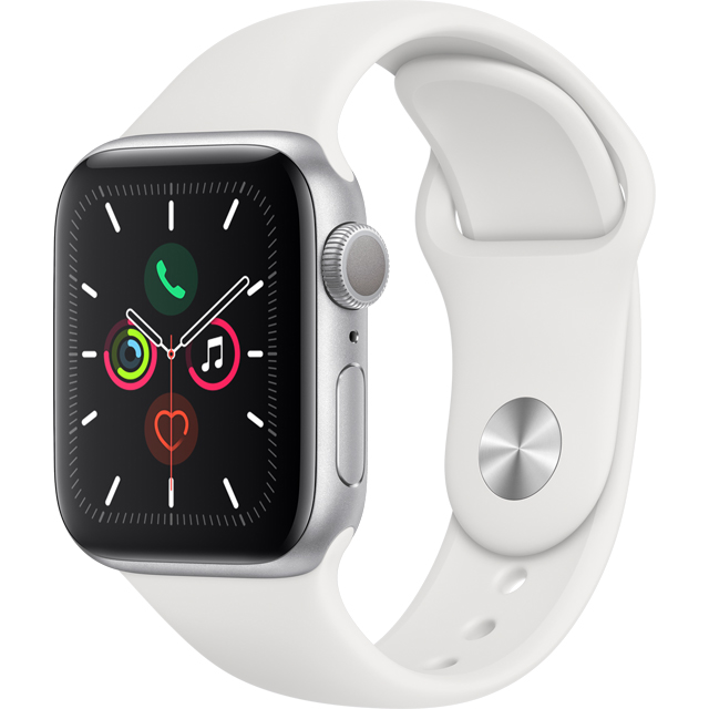 Apple Watch Series 5, 40mm, GPS [2019] - Silver Aluminium Case with White Sport Band - MWV62B/A - 1