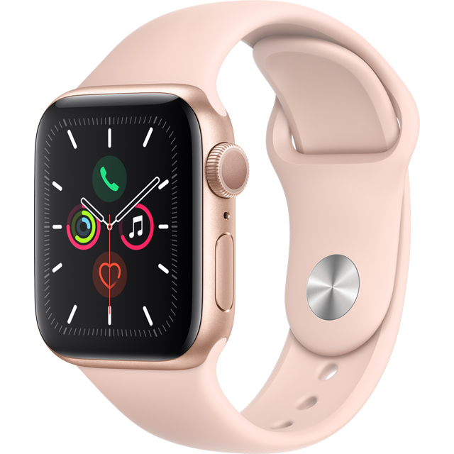 Apple Watch Series 5, 40mm, GPS [2019] - Gold Aluminium Case with Pink Sand Sport Band - MWV72B/A - 1