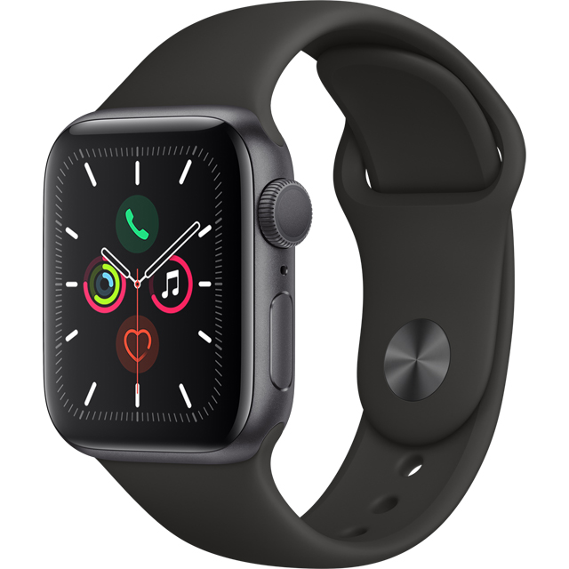 Apple Watch Series 5, 40mm, GPS [2019] - Space Grey Aluminium Case with Black Sport Band - MWV82B/A - 1