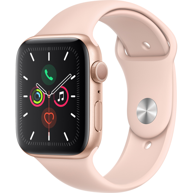 Apple Watch Series 5, 44mm, GPS [2019] - Gold Aluminium Case with Pink Sand Sport Band - MWVE2B/A - 1