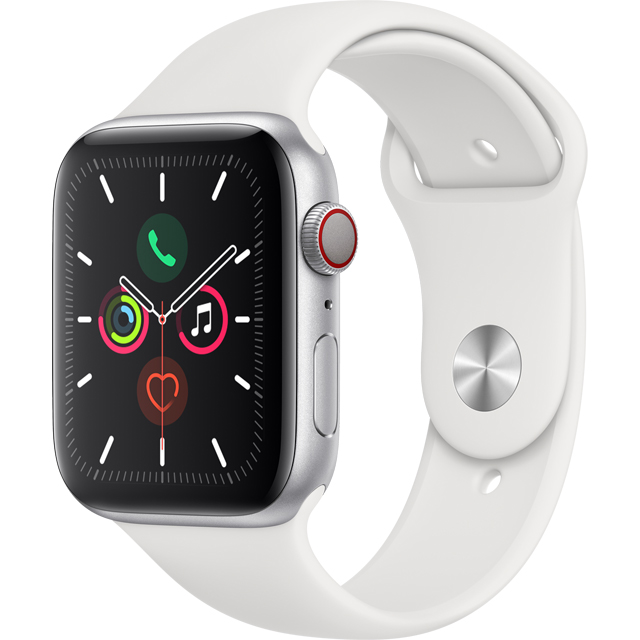 Apple Watch Series 5, 44mm, GPS + Cellular [2019] - Silver Aluminium Case with White Sport Band - MWWC2B/A - 1