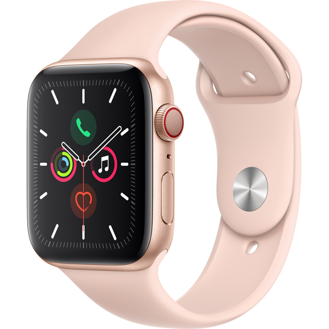 Apple Watch Series 5, 44mm, GPS + Cellular [2019] - Gold Aluminium Case with Pink Sand Sport Band - MWWD2B/A - 1