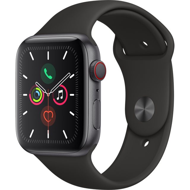 Apple Watch Series 5, 44mm, GPS + Cellular [2019] - Space Grey Aluminium Case with Black Sport Band - MWWE2B/A - 1