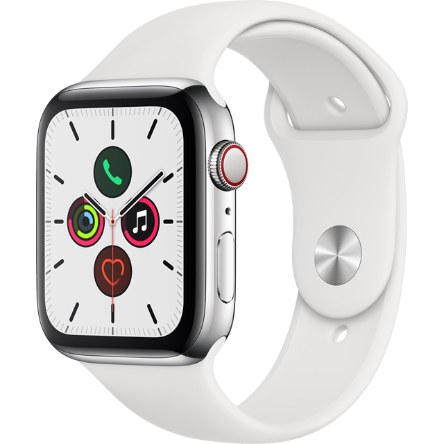 Apple Watch Series 5, 44mm, GPS + Cellular [2019] - Stainless Steel Stainless Steel Case with White Sport Band - MWWF2B/A - 1