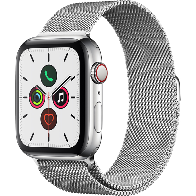 Apple Watch Series 5, 44mm, GPS + Cellular [2019] - Stainless Steel Aluminium Case with Stainless Steel Milanese Loop - MWWG2B/A - 1