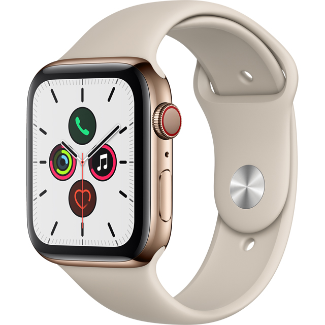 Apple Watch Series 5, 44mm, GPS + Cellular [2019] - Gold Stainless Steel Case with Stone Sport Band - MWWH2B/A - 1