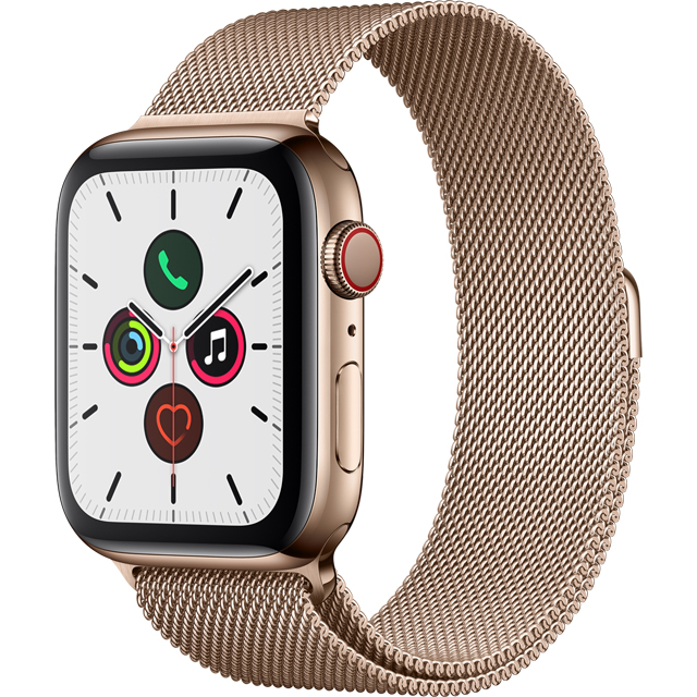 Apple Watch Series 5, 44mm, GPS + Cellular [2019] - Gold Aluminium Case with Gold Milanese Loop - MWWJ2B/A - 1