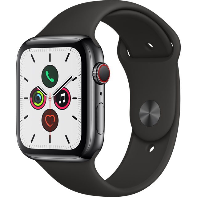 Apple Watch Series 5, 44mm, GPS + Cellular [2019] - Black Stainless Steel Case with Black Sport Band - MWWK2B/A - 1
