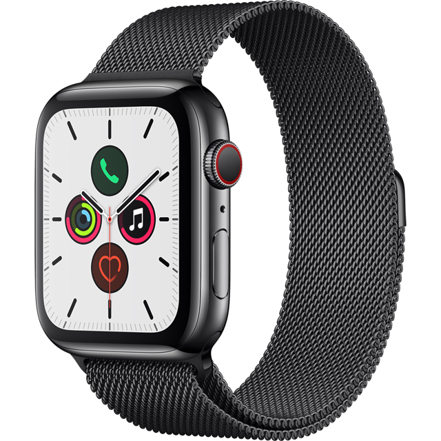 Apple Watch Series 5, 44mm, GPS + Cellular [2019] - Black Aluminium Case with Space Black Milanese Loop - MWWL2B/A - 1