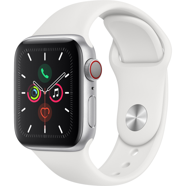 Apple Watch Series 5, 40mm, GPS + Cellular [2019] - Silver Aluminium Case with White Sport Band - MWX12B/A - 1