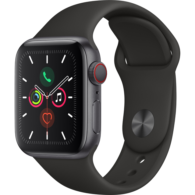 Apple Watch Series 5, 40mm, GPS + Cellular [2019] - Space Grey Aluminium Case with White Sport Band - MWX12B/A - 1