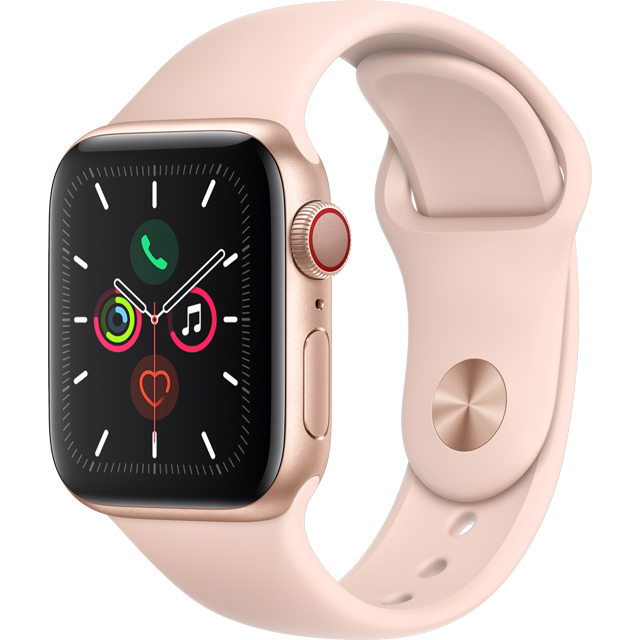 Apple Watch Series 5, 40mm, GPS + Cellular [2019] - Gold Aluminium Case with Pink Sand Sport Band - MWX22B/A - 1