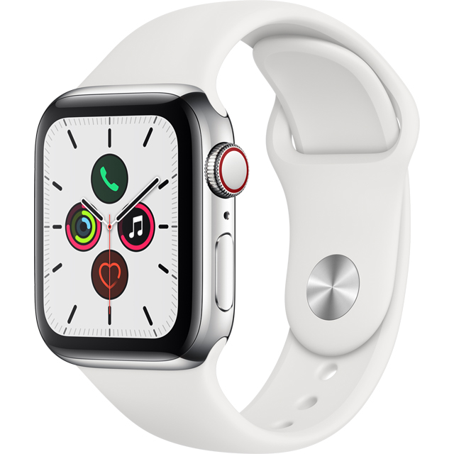 Apple Watch Series 5, 40mm, GPS + Cellular [2019] - Stainless Steel Stainless Steel Case with White Sport Band - MWX42B/A - 1