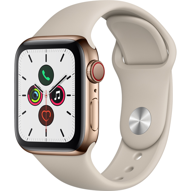 Apple Watch Series 5, 40mm, GPS + Cellular [2019] - Gold Stainless Steel Case with Stone Sport Band - MWX62B/A - 1