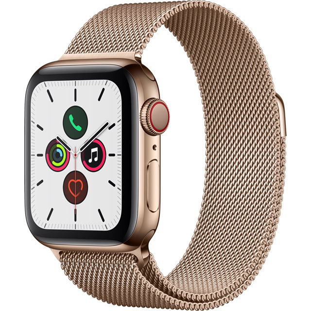 Apple Watch Series 5, 40mm, GPS + Cellular [2019] - Gold Stainless Steel Case with Gold Milanese Loop - MWX72B/A - 1