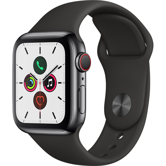 Apple Watch Series 5, 40mm, GPS + Cellular [2019] - Black Stainless Steel Case with Black Sport Band - MWX82B/A - 1