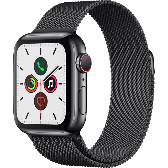 Apple Watch Series 5, 40mm, GPS + Cellular [2019] - Black Stainless Steel Case with Space Black Milanese Loop - MWX92B/A - 1