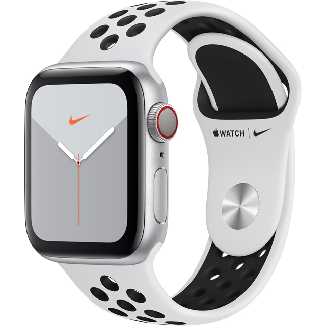 Apple Watch Series 5, 40mm, GPS + Cellular [2019] - Silver Aluminium Case with Pure Platinum/Black Nike Sport Band - MX3C2B/A - 1