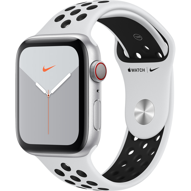 Apple Watch Series 5, 44mm, GPS + Cellular [2019] - Silver Aluminium Case with Pure Platinum/Black Nike Sport Band - MX3E2B/A - 1