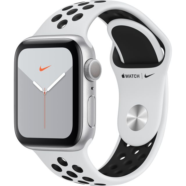 Apple Watch Series 5, 40mm, GPS [2019] - Silver Aluminium Case with Anthracite/Black Nike Sport Band - MX3R2B/A - 1