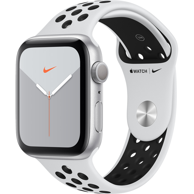 Apple Watch Series 5, 44mm, GPS [2019] - Silver Aluminium Case with Pure Platinum/Black Nike Sport Band - MX3V2B/A - 1