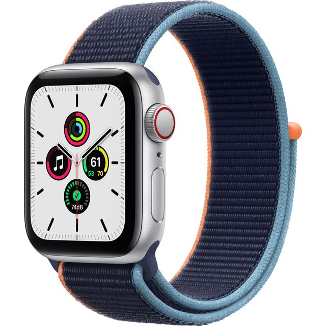 Apple Watch SE, 40mm, GPS + Cellular [2020] - Silver Aluminium Case with Deep Navy Sport Loop
